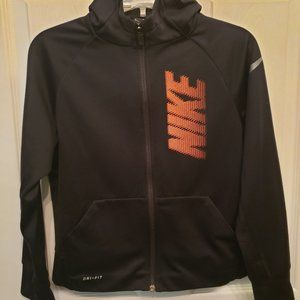Nike Boys Dri-Fit Black Zip Up Hoodie Sz S